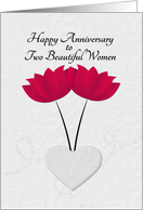 Lesbian Happy Anniversary Red Flowers and Heart card