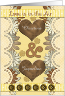 Lesbian Engagement Announcement Custom Names Hearts and Flowers card