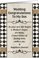 Wedding Congratulations to Son from Mother Checkerboard and Chevrons card