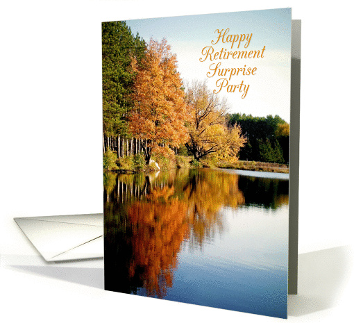 Happy Retirement Surprise Party Invitation Autumn on the Lake card