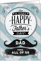 Happy Father's Day from All of Us Vintage Distressed Mustache card
