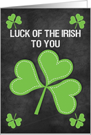 Happy St. Patrick's Day Luck of the Irish Chalkboard Shamrock card