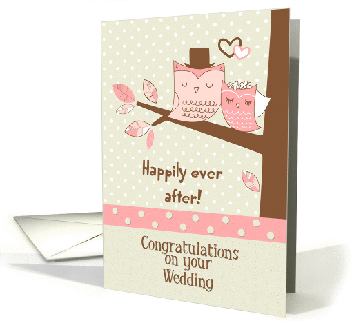 Wedding Congratulations Owl Couple in Tree with Polka Dots card
