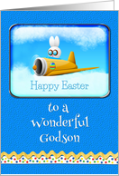 Happy Easter To A Wonderful Godson Bunny Flying Plane card