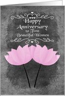 Happy Anniversary to Lesbian Couple Pink Flowers Chalkboard card