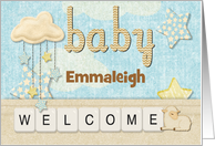 New Baby Welcome Custom Name Cloud and Stars card