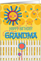 Happy Birthday Grandma Sunshine and Flowers Scrapbook Style card
