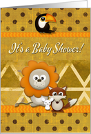 Baby Shower Invitation Cute Critters and Patterns Scrapbook Style card