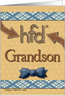Father's Day for Grandson Fun Bowtie Masculine Patterns card