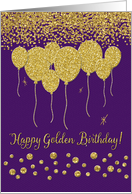 Happy Golden Birthday Gold Balloons and Confetti on Purple card