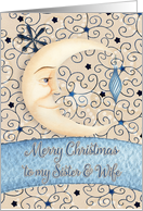 Merry Christmas to Sister and Wife Crescent Moon & Stars and Ornament card