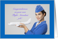 Congratualions New Job Flight Attendant Woman Holding Plane card