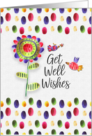 Get Well Wishes Whimsical and Colorful Flower and Birds card