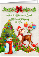 Merry Christmas to Son and Son-in-Law Christmas Scene Elf Snowman card