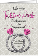 Lesbian Engagement Announcement Tickled Pink Sparkly Rings card