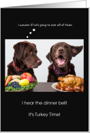 Happy Thanksgiving from the Dogs Chocolate Labs with Turkey card
