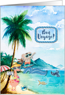 Bon Voyage Vacation Wishes Whimsical Beach Scene with Animals card
