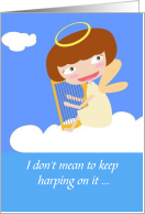 Musical and Amusing Thank You with Harp and Angel card