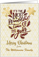 Merry Christmas Custom Name Wonderful Time of the Year Word Art card