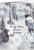 Season's Greetings to Mom Winter Woodland with Ravens card