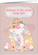 Baby Girl Congratulations Welcome to the World Baby Elephant card