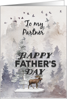 Happy Father's Day to Partner Moose and Trees Woodland Scene card