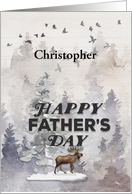 Happy Father's Day Custom Name Moose and Trees Woodland Scene card