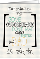 Happy Father's Day to Father in Law Superhero Word Art card
