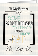 Happy Father's Day to Partner Superhero Word Art card