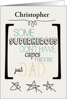 Happy Father's Day Superhero Word Art Custom Name card