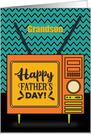 Happy Father's Day to Grandson Retro TV Word Art card