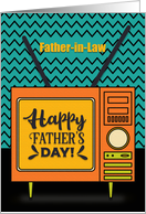 Happy Father's Day to Father in Law Retro TV Word Art card