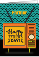 Happy Father's Day to Partner Retro TV Word Art card