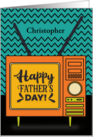 Happy Father's Day Custom Name Retro TV Word Art card
