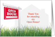 Thank You for Attending Open House from Real Estate Agent card