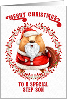 Merry Christmas to Step Son Big Bear in Santa Suit card