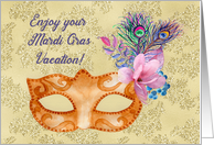 Enjoy Your Mardi Gras Vacation Mask with Feathers and Flowers card