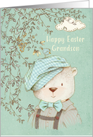 Happy Easter to Grandson Cute Bear and Bird card