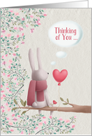 Thinking of You during Covid-19/Coronavirus Lonely Rabbit in a Tree card
