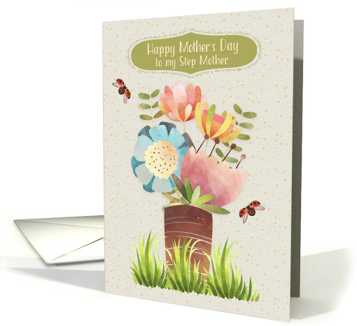 Happy Mother's Day to Step Mother Beautiful Flower Bouquet card