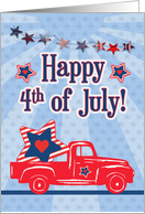 Happy 4th of July Red Truck and Stars card