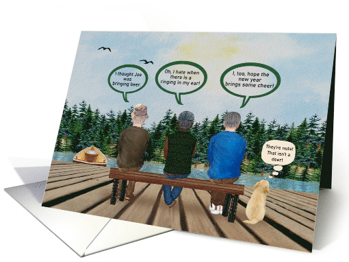 Happy New Year Funny Men Sitting on a Dock with Dog card (1659746)