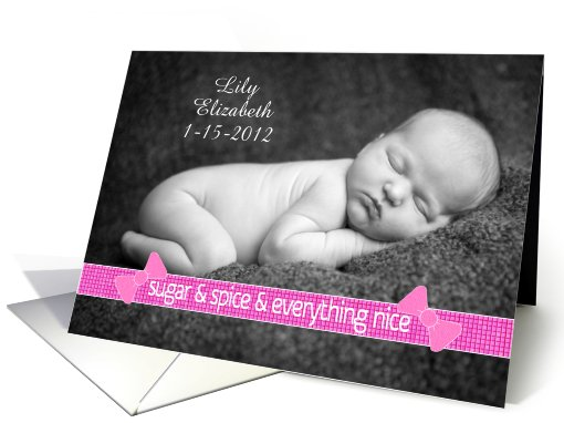 Baby Girl Customizable Birth Announcement Photo Card Sugar... (895277)