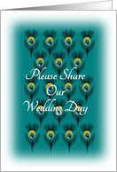 Wedding Invitation Peacock Feathers Pattern card