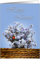 Happy Norooz - blue wild flowers-English card