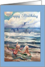 Little Mermaids and Dolphins, Birthday card