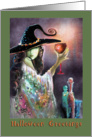 Witch with Goblet, potions, Halloween Greetings card
