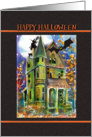 Happy Halloween, Haunted House, Bat, witch, Blank inside card