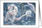 Thinking of you, Mermaid and Sea Horse Art card