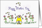 whimsical garden and girl, Happy Mothers Day card